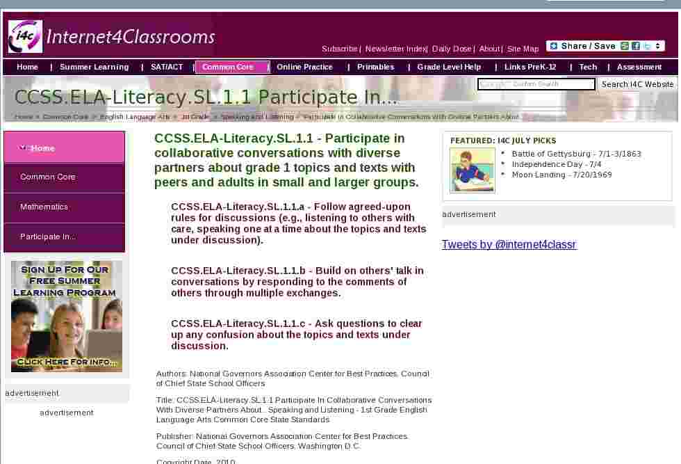 Collaborative Conversations In The Classroom ~ Ccss ela literacy sl participate in collaborative