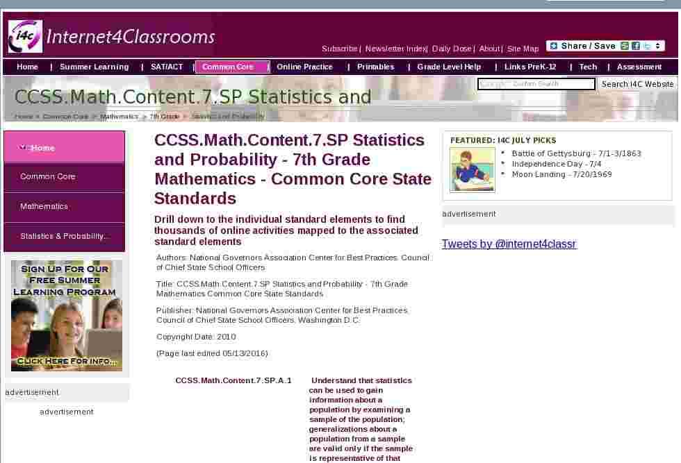 ccssmathcontent7sp statistics and probability 7th grade