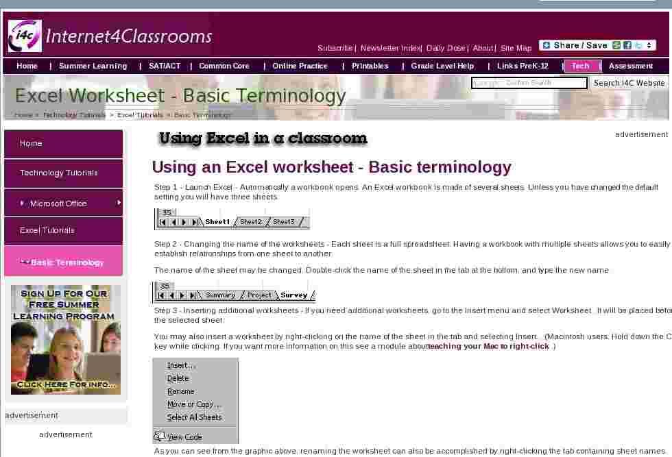 tutorial using an excel worksheet