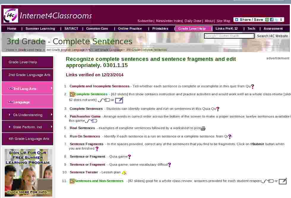 Complete Sentences Language Third Grade Language Arts Standards I4C