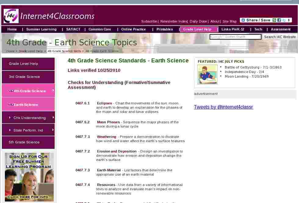 earth science topics fourth 4th grade science standards at i4c. Black Bedroom Furniture Sets. Home Design Ideas