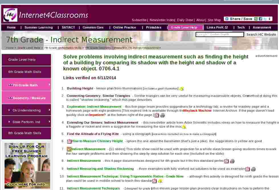 indirect measurement geometry measurement seventh grade math i4c. Black Bedroom Furniture Sets. Home Design Ideas