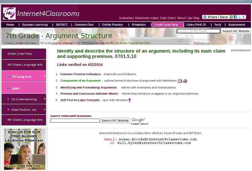 Premise Indicator Words: Argument Structure Seventh Grade English Language Arts