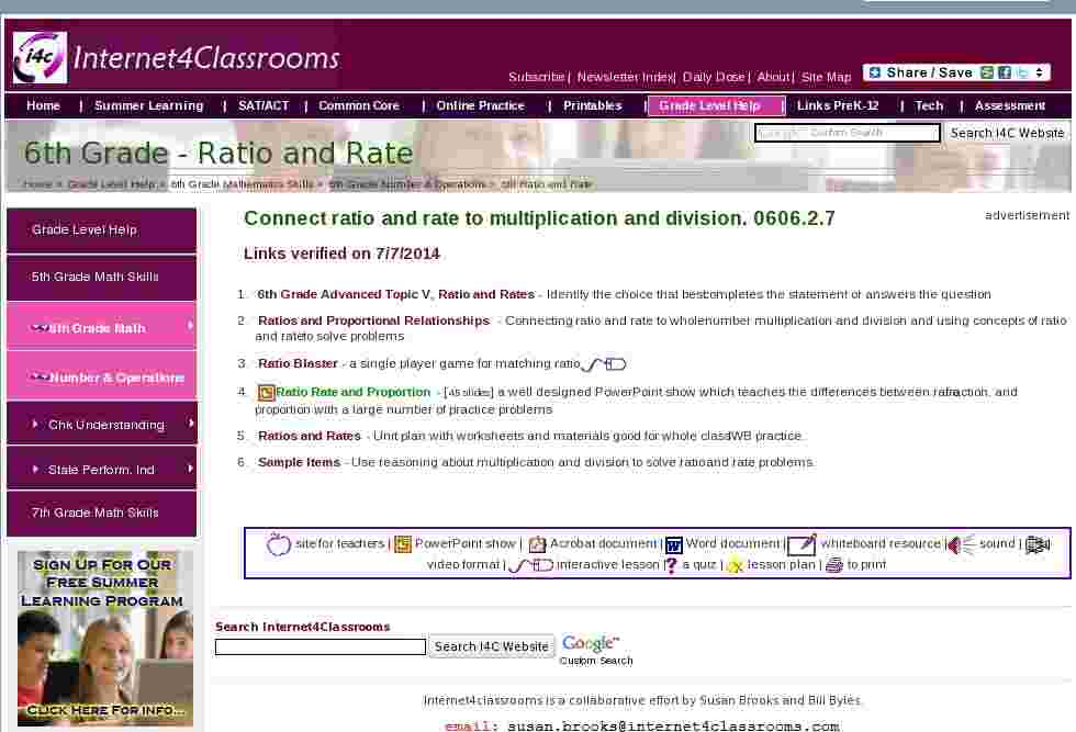 Ratio and Rate | Sixth Grade Number & Operations Internet4Classrooms