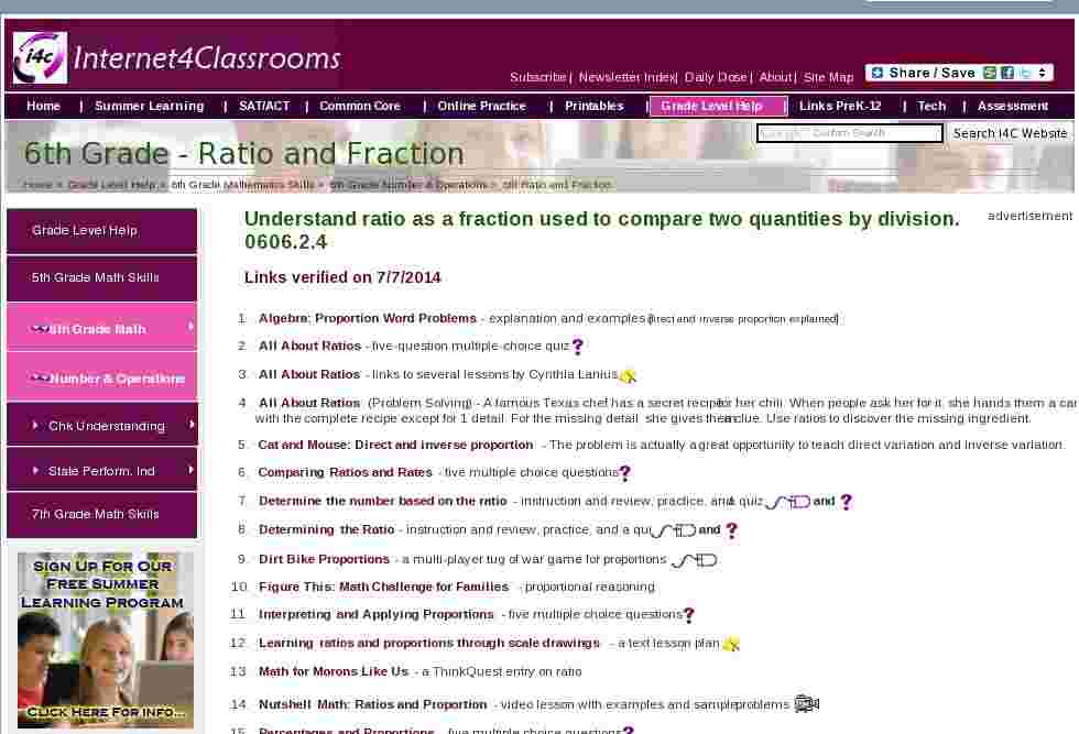 Ratio and Fraction   6th Grade Number & Operations Internet4Classrooms