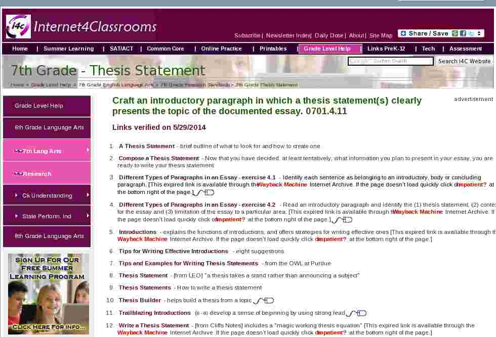 thesis statement using the internet