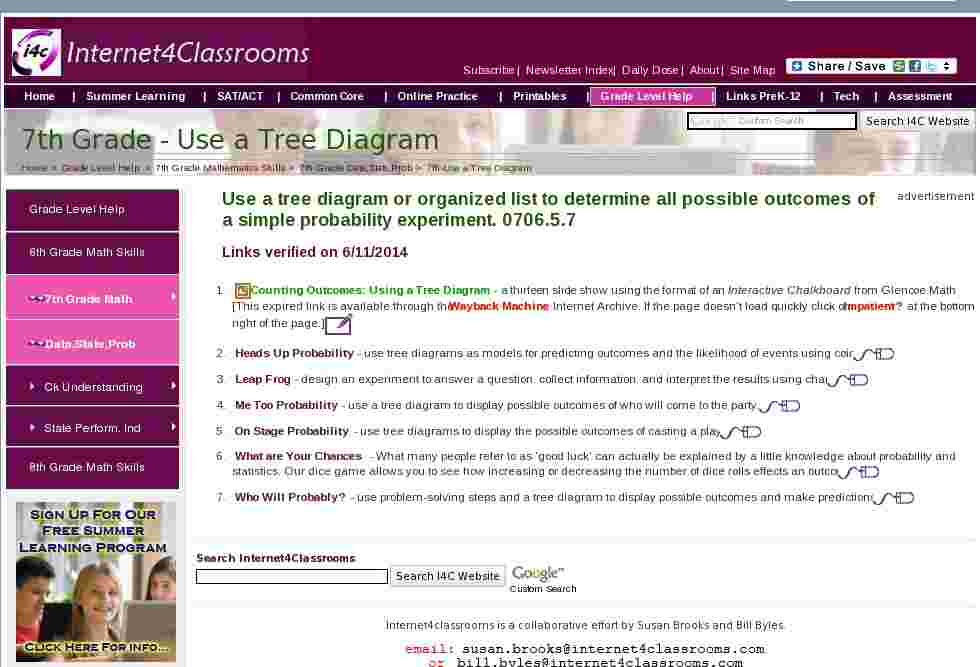 Use a    Tree       Diagram      Data Stats Prob    Seventh       7th       Grade