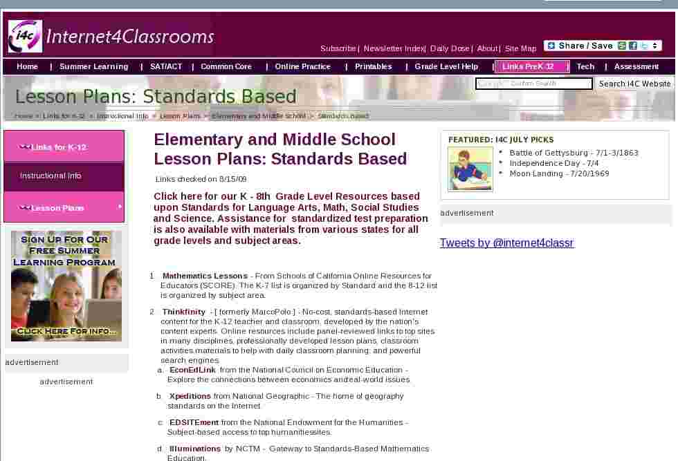 national council of teachers of mathematics standards lesson plan websites essay Collections of math lesson plans illuminations created by the national council of teachers of mathematics, this site offers many resources for teaching math including a searchable collection of lesson plans.
