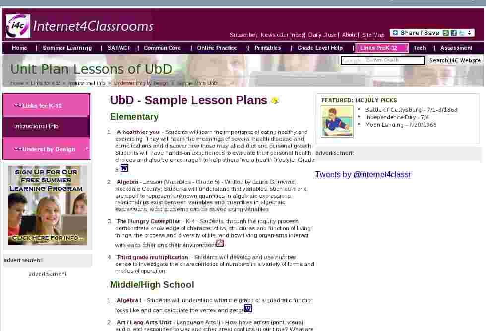 Classroom unit plan lessons of ubd at internet 4 classrooms - Backward design lesson plan sample ...