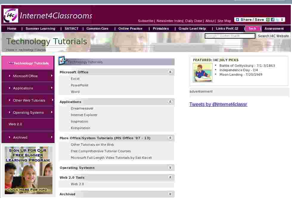 Technology Tutorials at Internet 4 Classrooms