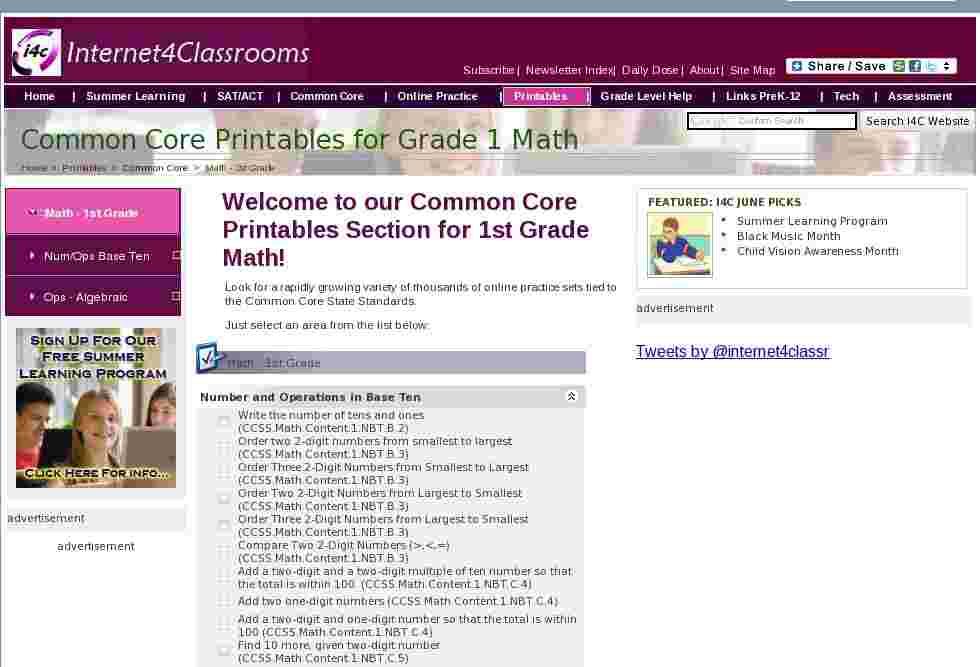 Math 1st Grade Common Core Printables Printable