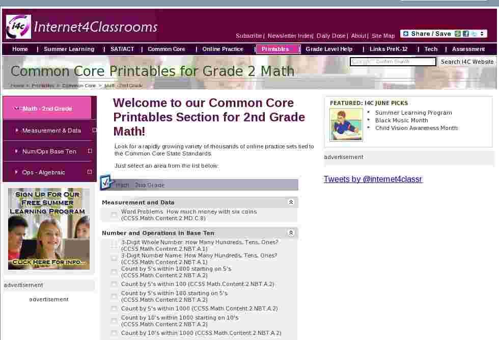 Math 2nd Grade Common Core Printables Printable