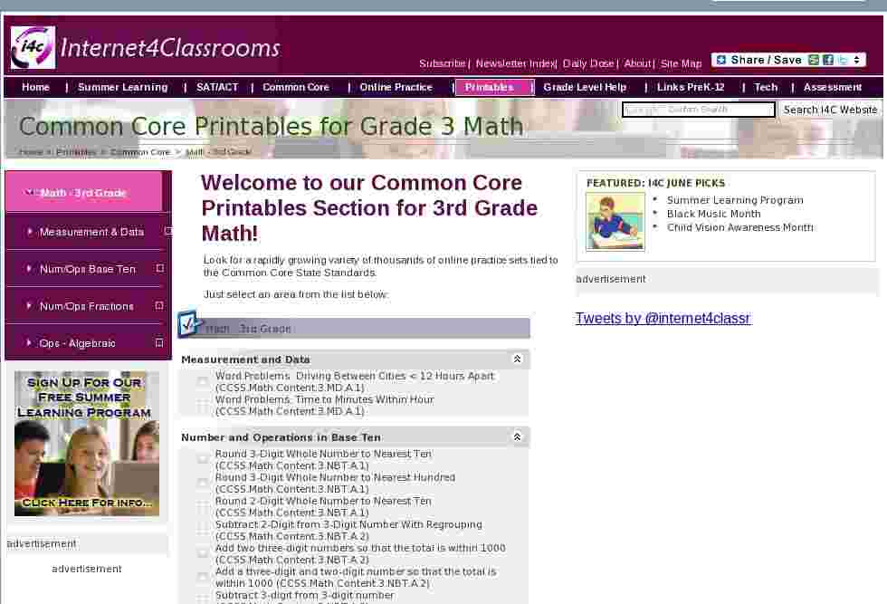 math 3rd grade common core printables printable worksheets at i4c. Black Bedroom Furniture Sets. Home Design Ideas
