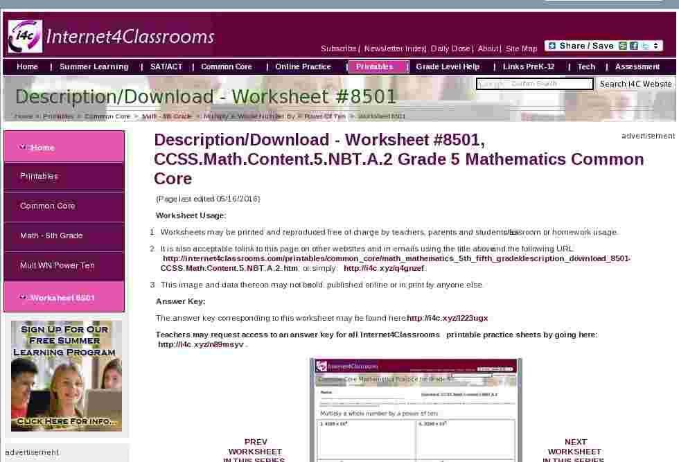 Envision Math Common Core Workbook Grade 5 Answers