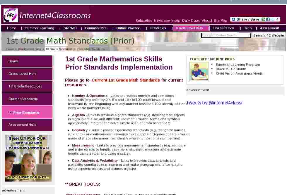 math standards to use in 1st grade classes. Black Bedroom Furniture Sets. Home Design Ideas