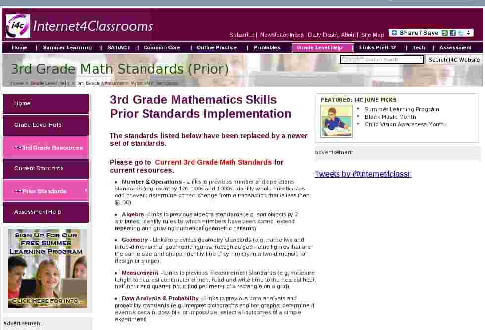 math standards for 3rd grade classes at internet 4 classrooms. Black Bedroom Furniture Sets. Home Design Ideas