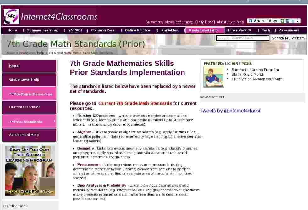 7th grade math standards at internet 4 classrooms. Black Bedroom Furniture Sets. Home Design Ideas