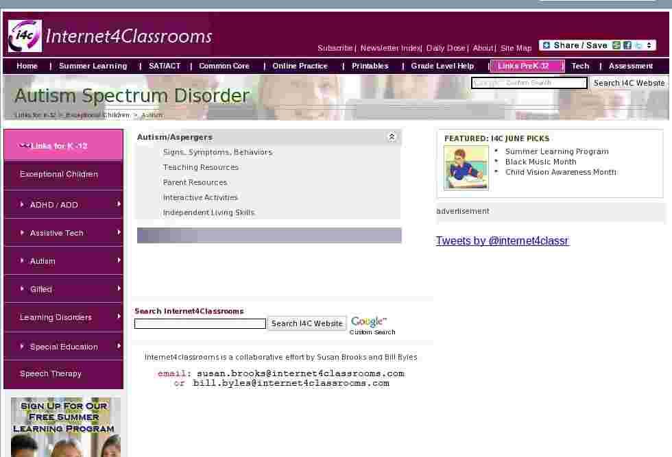 autism resources at internet 4 classrooms. Black Bedroom Furniture Sets. Home Design Ideas