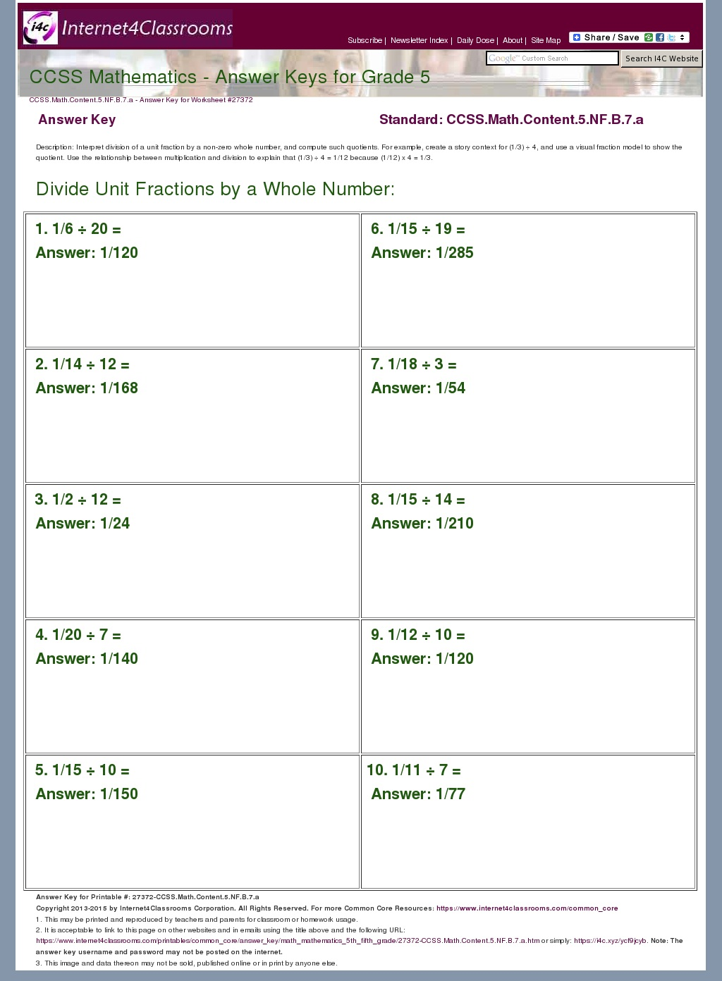 Answer Key Download - Worksheet #27372. CCSS.Math.Content ...