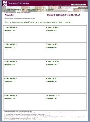 Answer Key Download Worksheet 8621 Ccss Math Content 5 Nbt A 4