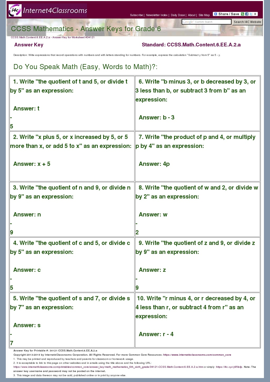 Answer Key Download - Worksheet #34121. CCSS.Math.Content ...