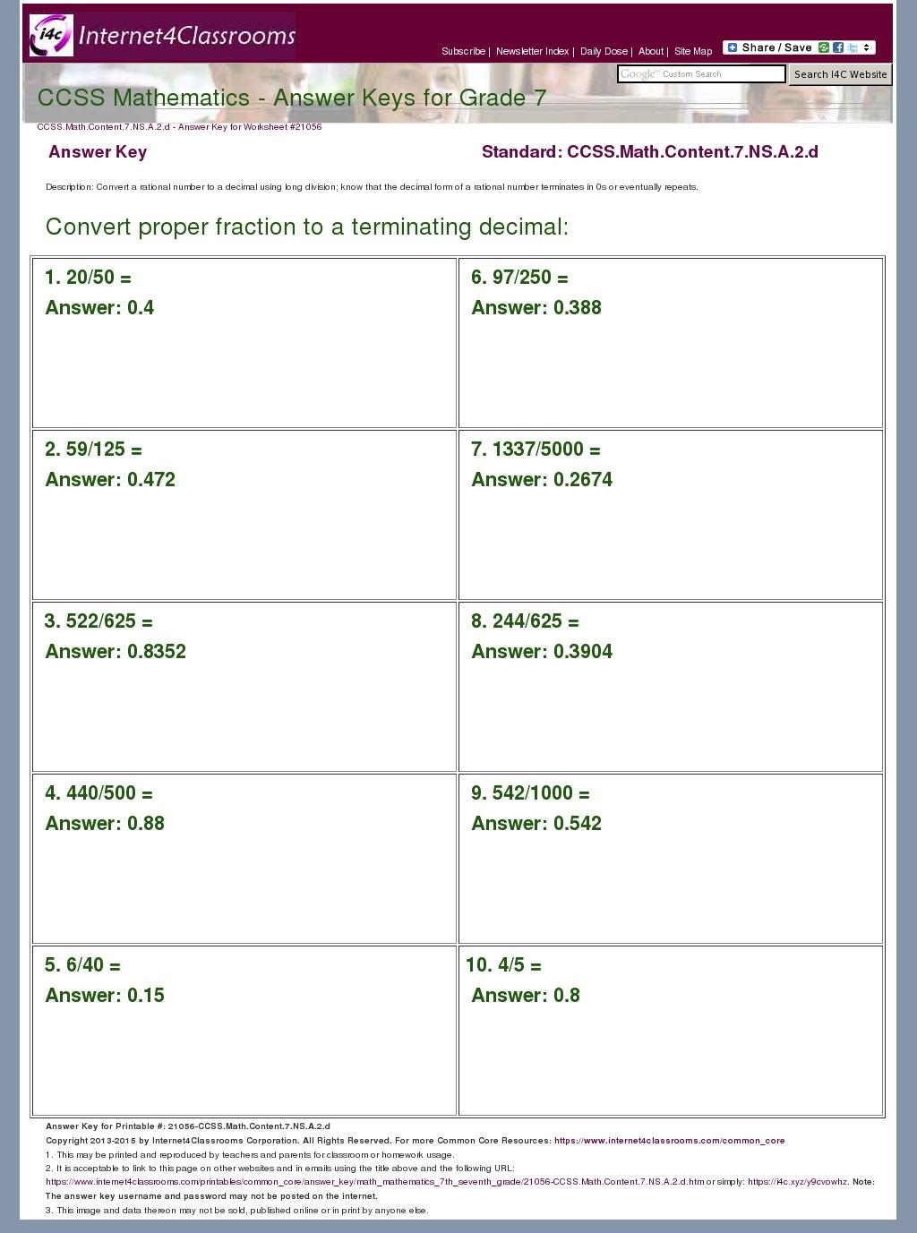 Answer Key Download - Worksheet #21056. CCSS.Math.Content ...