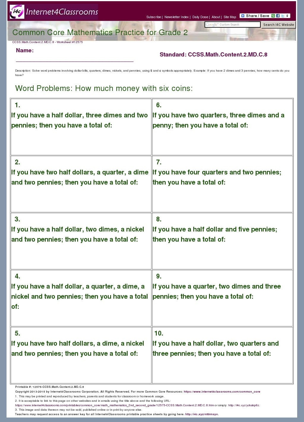 DescriptionDownload Worksheet 12575 CCSSMathContent2MDC8 – Common Core Math Practice Worksheets