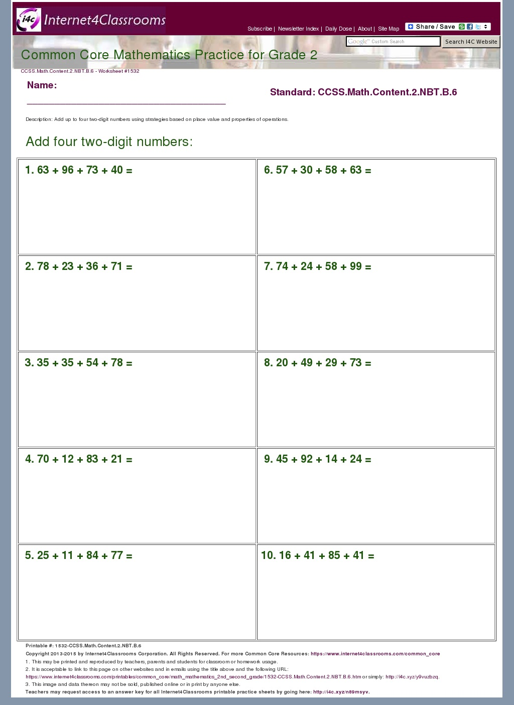 worksheet Math Common Core Worksheets common core math grade 2 worksheets nbt 1 place value 2nd 1532 ccss content b 6 mathematics core