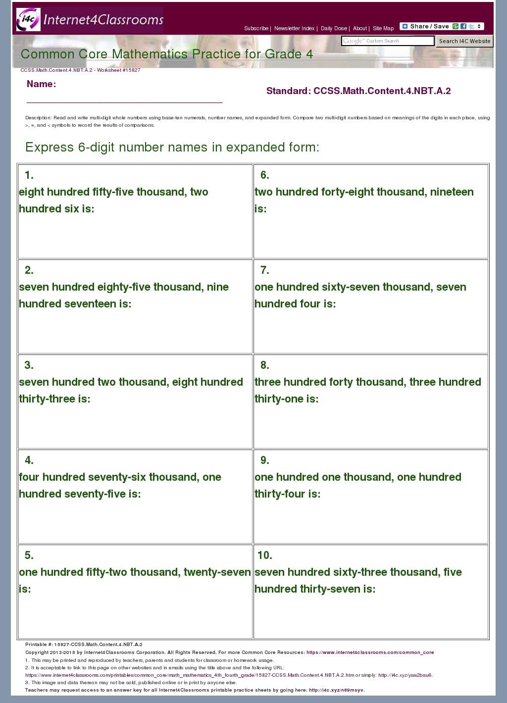 worksheet Common Core Math Grade 4 Worksheets descriptiondownload worksheet 15827 ccss math content 4 nbt a 2 grade mathematics common core