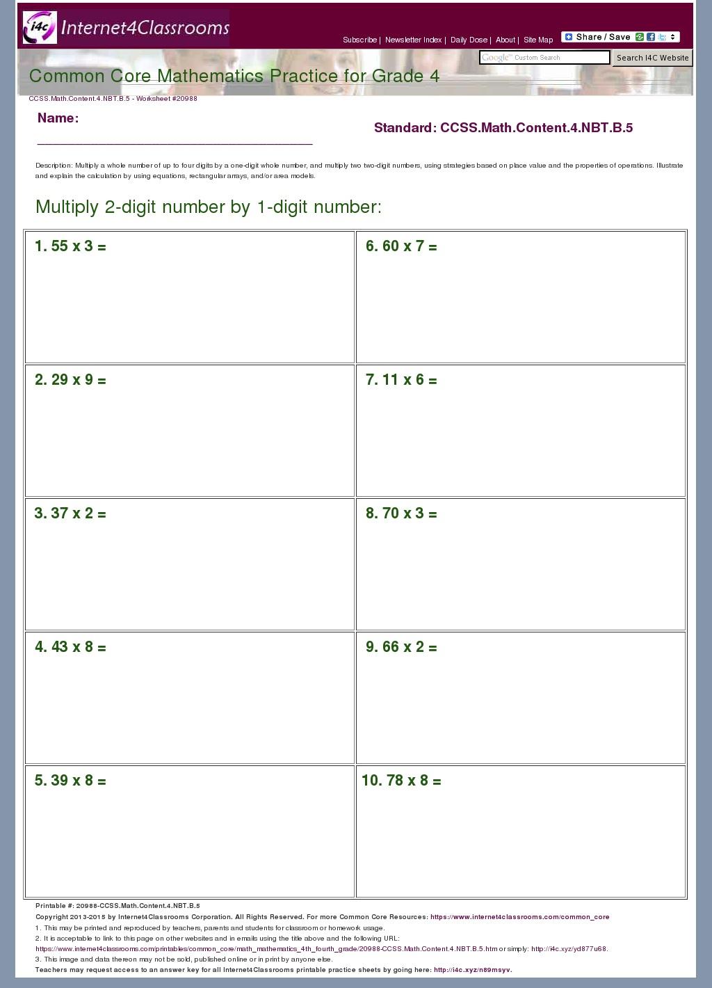 Description/Download - Worksheet #20988, CCSS.Math.Content.4.NBT.B.5 Grade 4  Mathematics Common Core