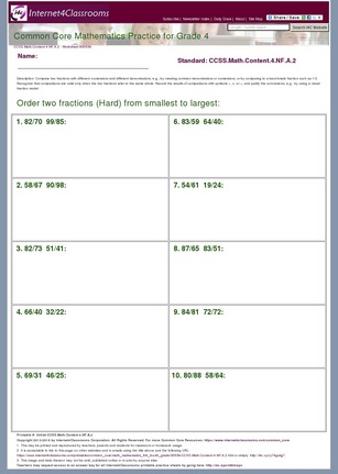 ... Grade Math LCM And GCF Worksheets. on worksheet on benchmark fractions