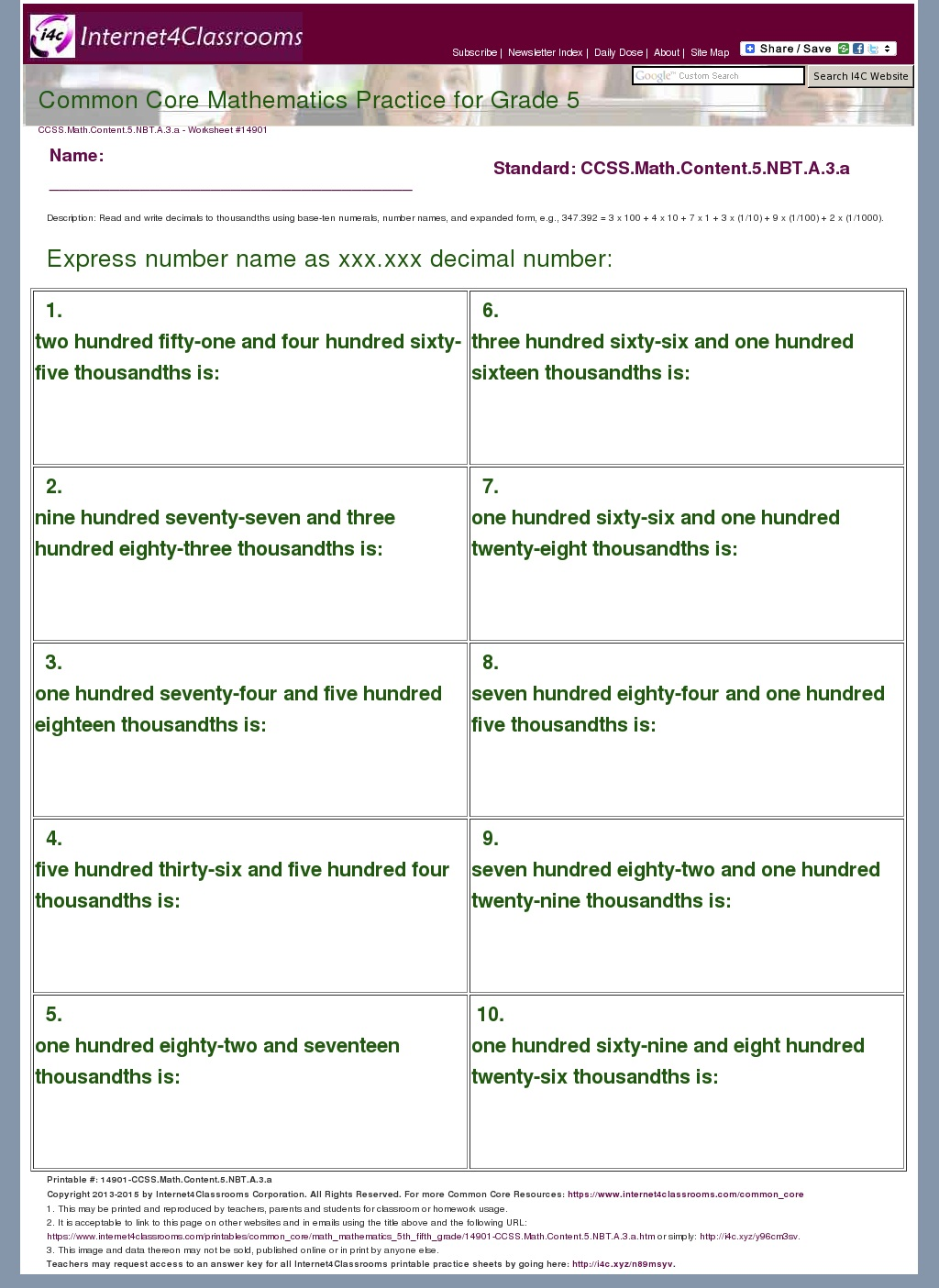 14901-CCSS.Math.Content.5.NBT.A.3.a Online Math Worksheet For Grade on problems division, fact families, common core, telling time, word problem, multiplication answers, multiplication coloring,