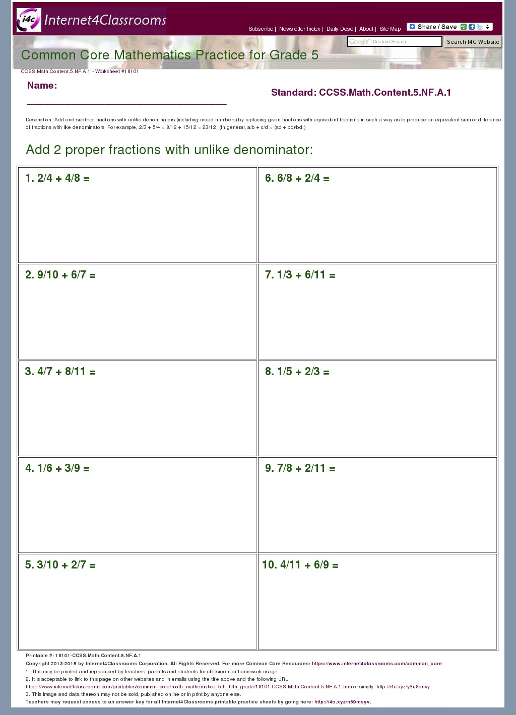 Description Download Worksheet 18101 Ccss Math Content