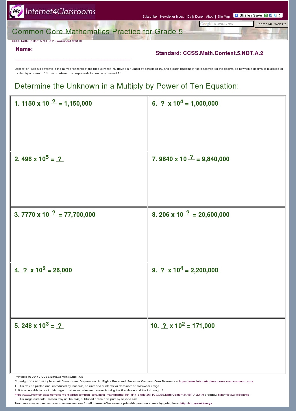 5 nbt 2 worksheets