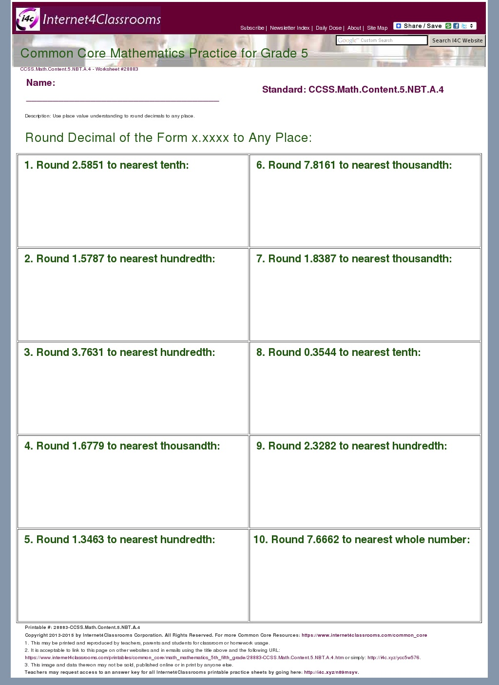 Description Download Worksheet 28883 Ccss Math Content