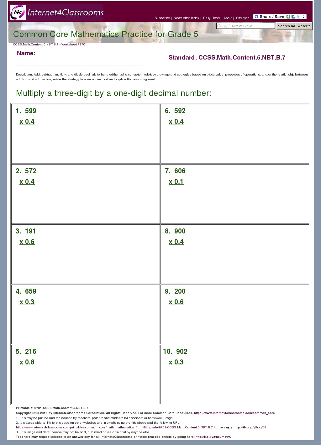 Description Download Worksheet 9701 Ccss Math Content