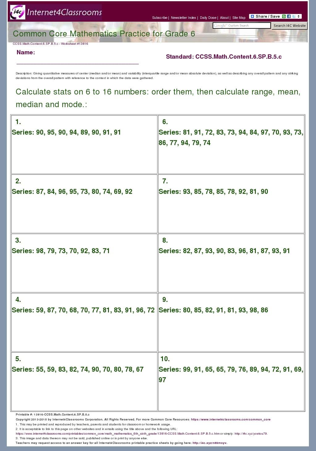 Description/Download - Worksheet #13816. CCSS.Math.Content ...