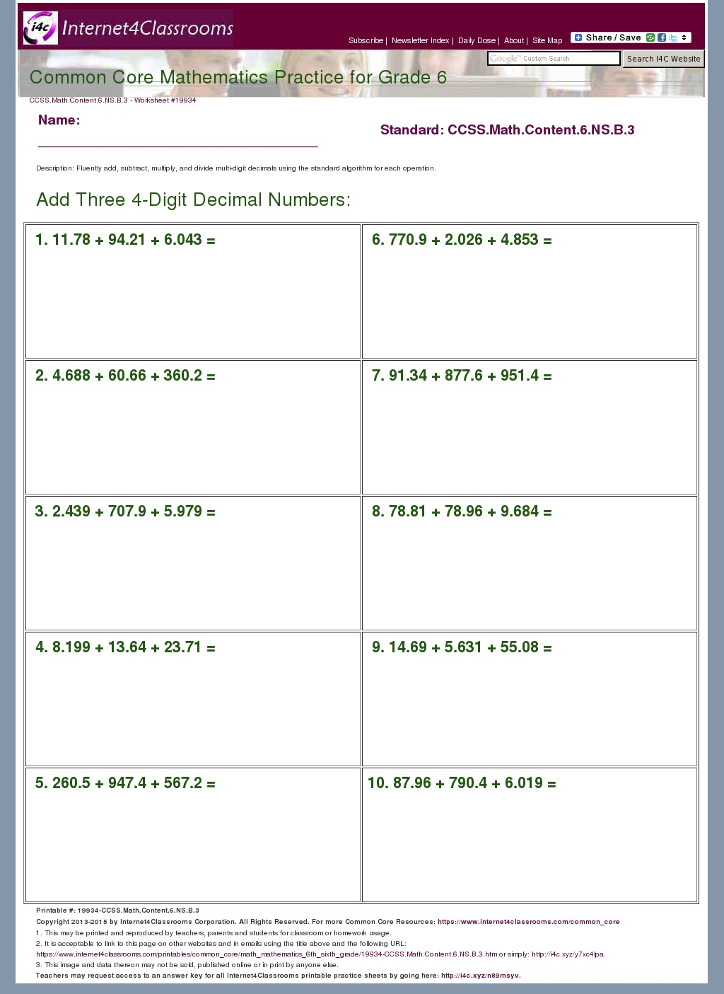 6th grade common core math worksheets – Math Worksheets Common Core