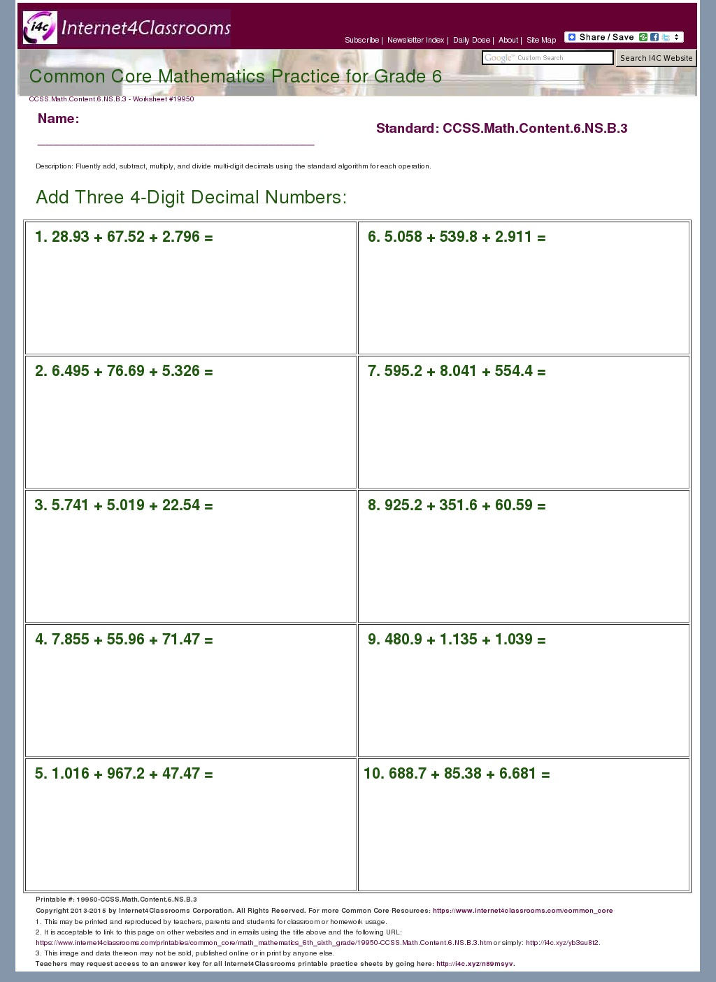 Common Core Math Worksheets For 6th Grade And Math Worksheets On – Common Core Math Worksheets for 6th Grade