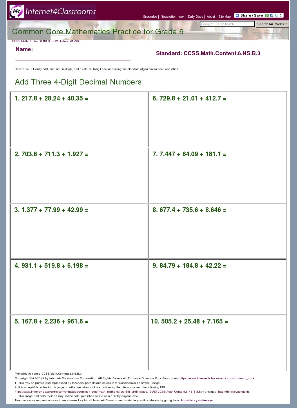 Description/Download - Worksheet #19963, CCSS.Math.Content.6.NS.B.3 ...