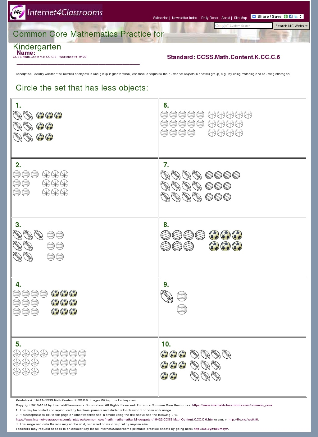 math worksheet : description download  worksheet 19422 ccss math content k cc c 6 : Common Core Math Worksheets For Kindergarten