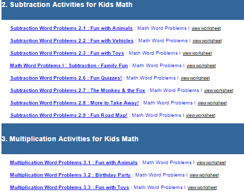 First Grade Interactive Math Skills - Word Problems