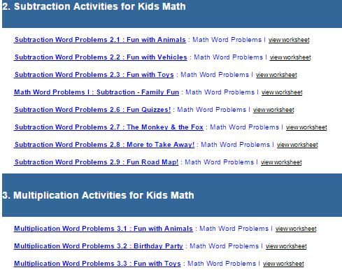 First Grade Interactive Math Skills - Word Problems