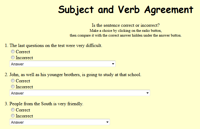 Eighth Grade Language Skill Builders - Subject Verb Agreement