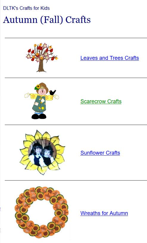 Activities for fall autumn at internet 4 classrooms for Dltk crafts for kids