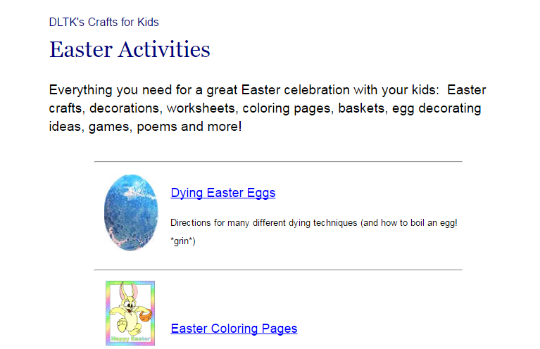 Activities for Easter at Internet 4 Classrooms