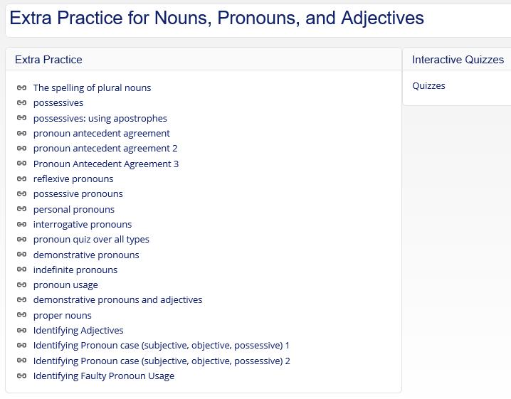Fifth Grade Language Skill Builders Nouns and Pronouns – Types of Pronouns Worksheet