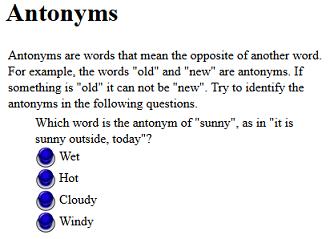 third grade language skill builders antonyms