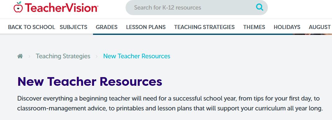 New Teacher Help Resources at Internet4Classrooms