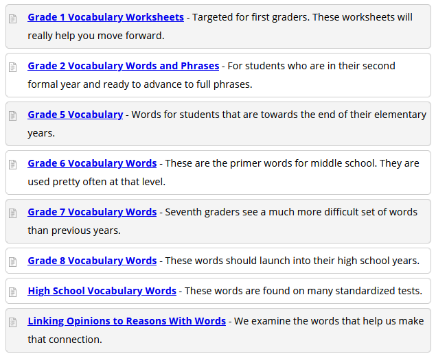 State Standard Assessments Language Arts Vocabulary Worksheets